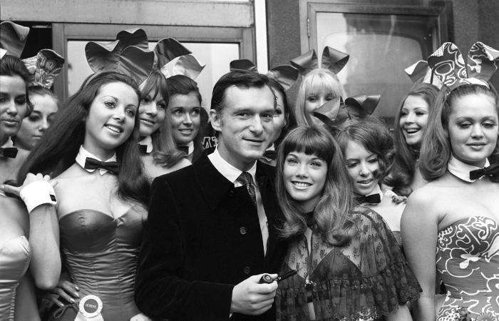 Library filer of Hugh Hefner, editor & publisher of Playboy Magazine, & his friend American actress Barbara Benton, 19, surrounded by Bunny Girls after a press conference at the Playboy Club in Park Lane, London. * 29/1/99 There is a photocall at London's Cafe de Paris at the start of worldwide search for Playboy bunnies to work in the new Playboy Casino and Beach Hotel in Rhodes.