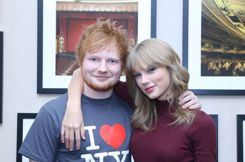 NEW YORK, NY - NOVEMBER 01: Ed Sheeran poses with Taylor Swift backstage before his sold-out show at Madison Square Garden Arena on November 1, 2013 in New York City. (Photo by Anna Webber/Getty Images for Atlantic Records)